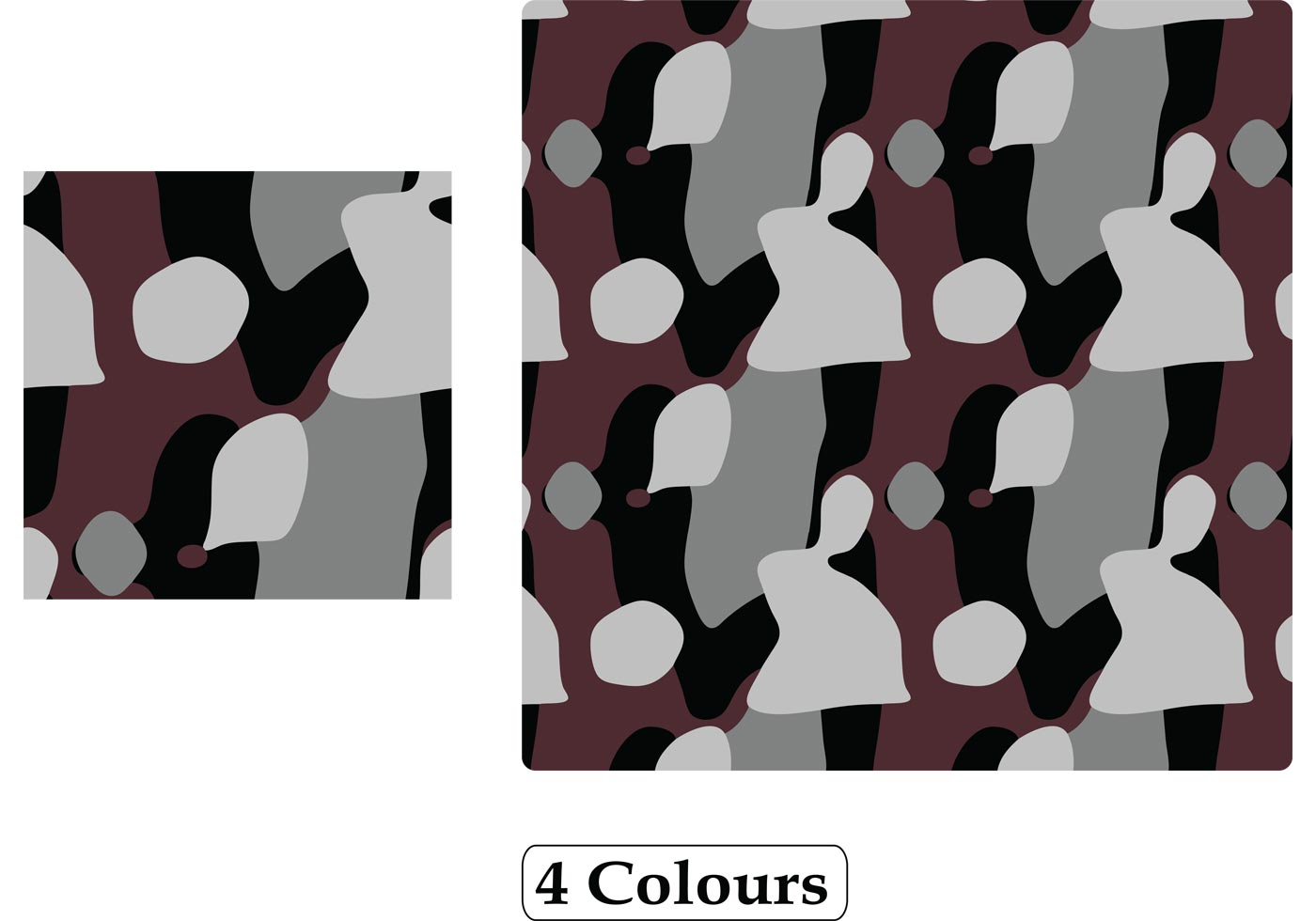 Free Seamless Camouflage Pattern Background Vector - 4 Colours