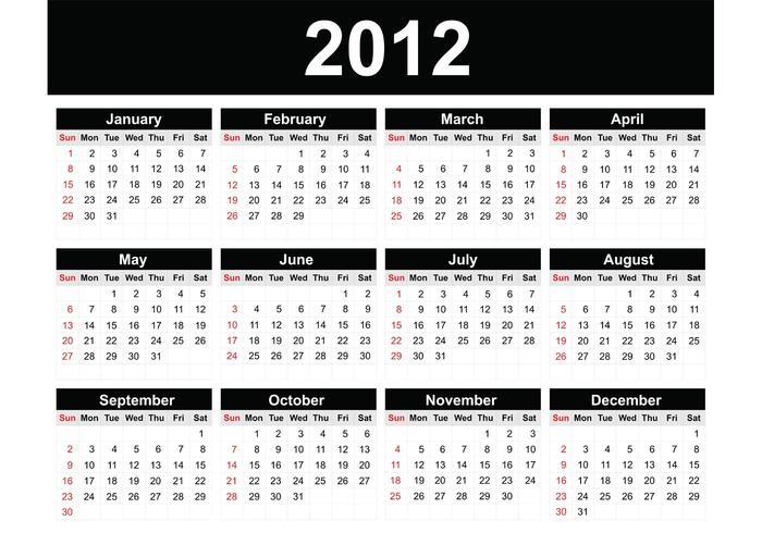 2012 free vector calendar