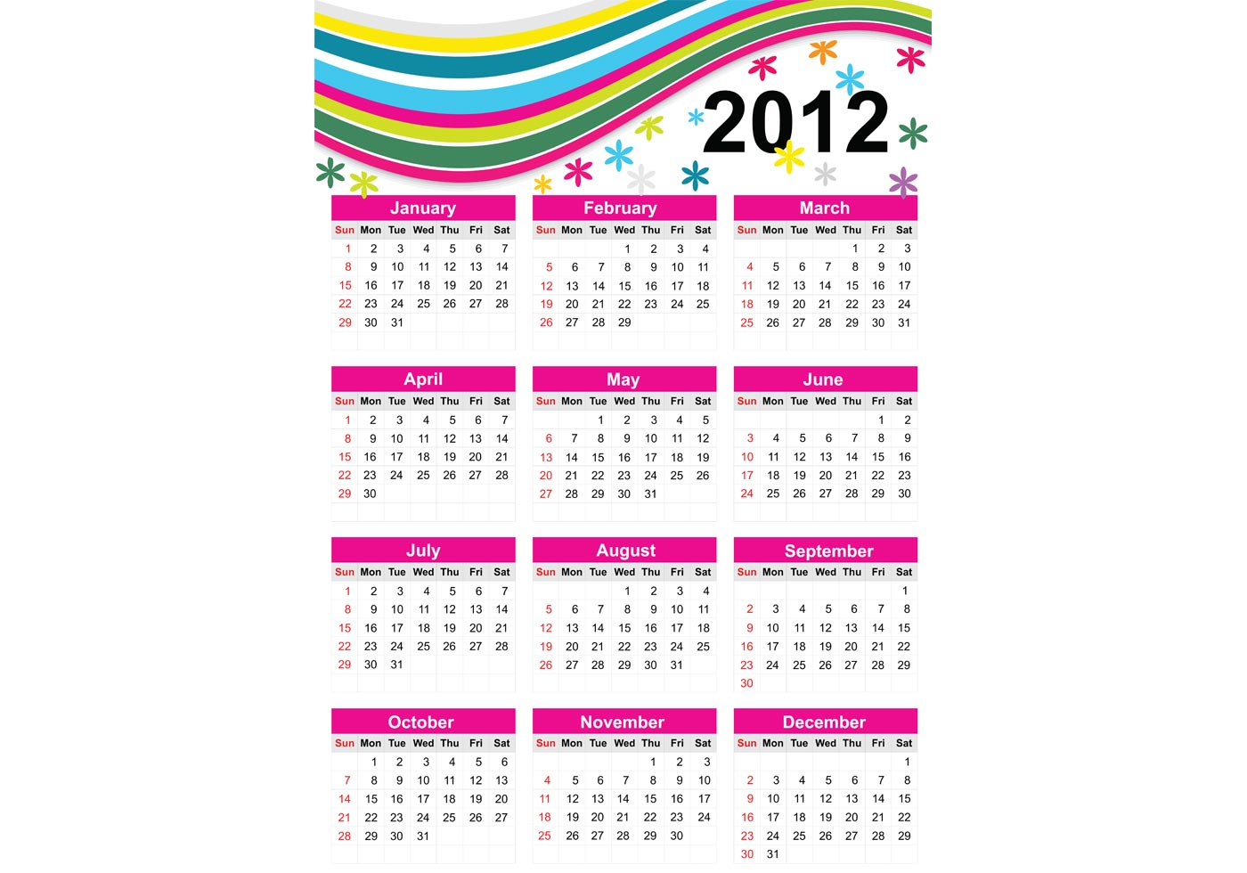 Year Calendar Vector : Colorful free vector calendar for year download