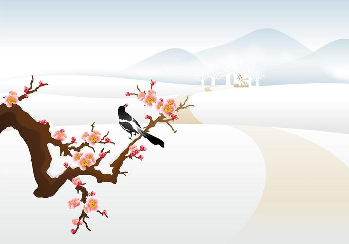 Winter Landschaft Vektor Wallpaper