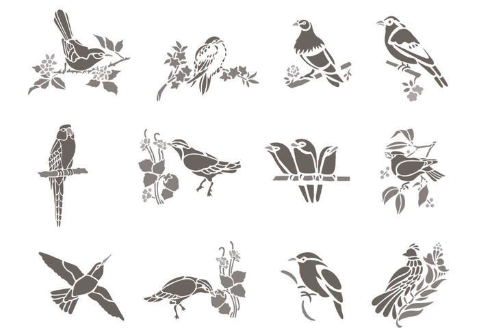 Vecteurs d'oiseaux floraux vecteur