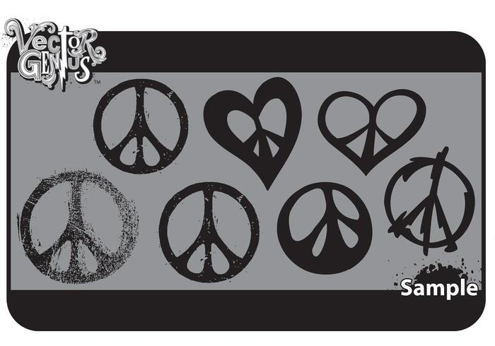 Fri Peace Sign Vector Art och Grungy Peace Vector Set