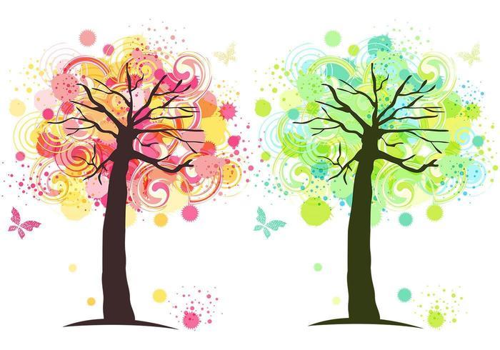 Ink Splat Tree Vector Wallpaper