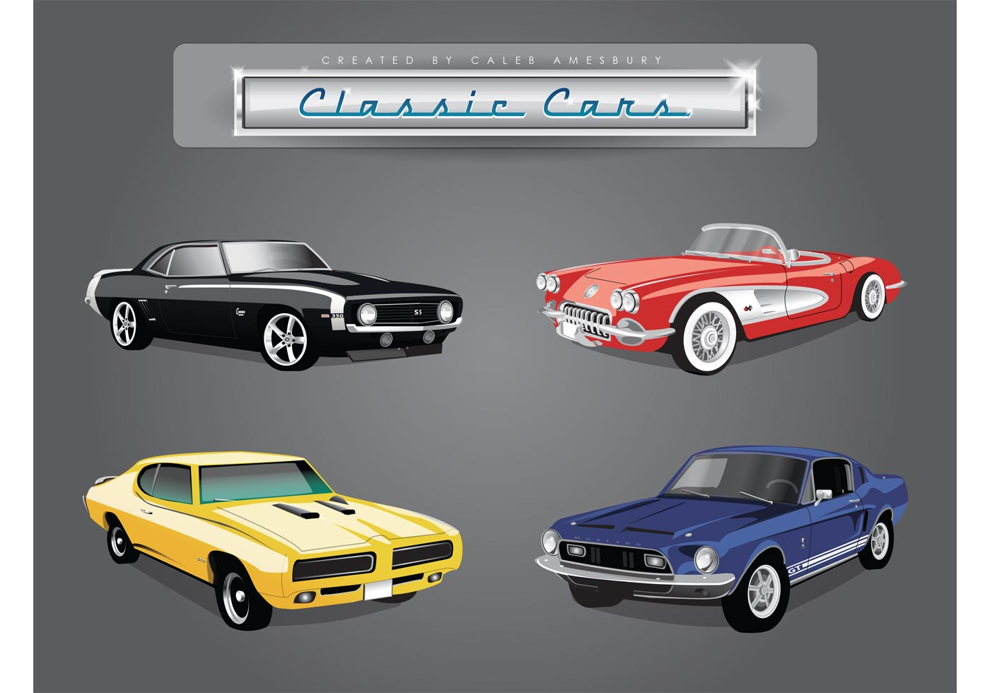 Car vector pack of classic american cars for American classic automotive