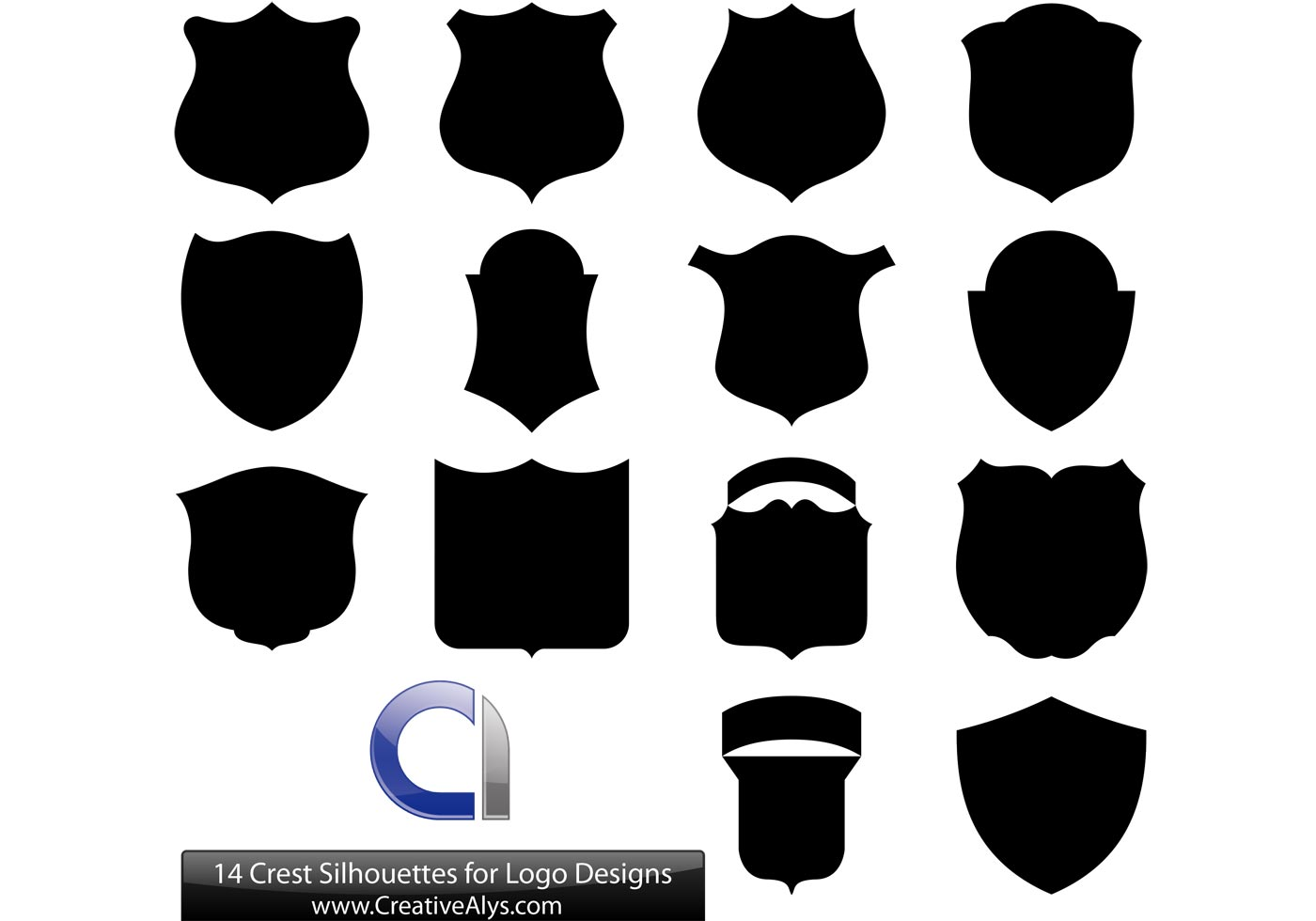14 crest silhouettes for logo designs download free