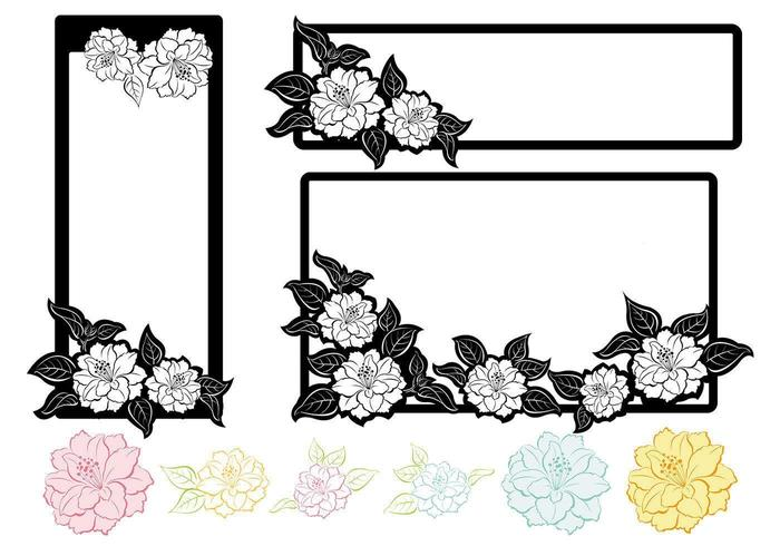 Zwart-wit Floral Tag Vector Pack