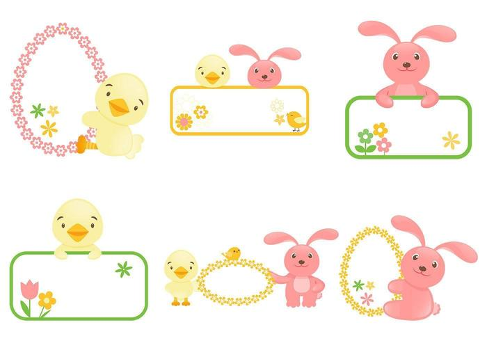 Confezione Easter Bunny and Chick Label vettore