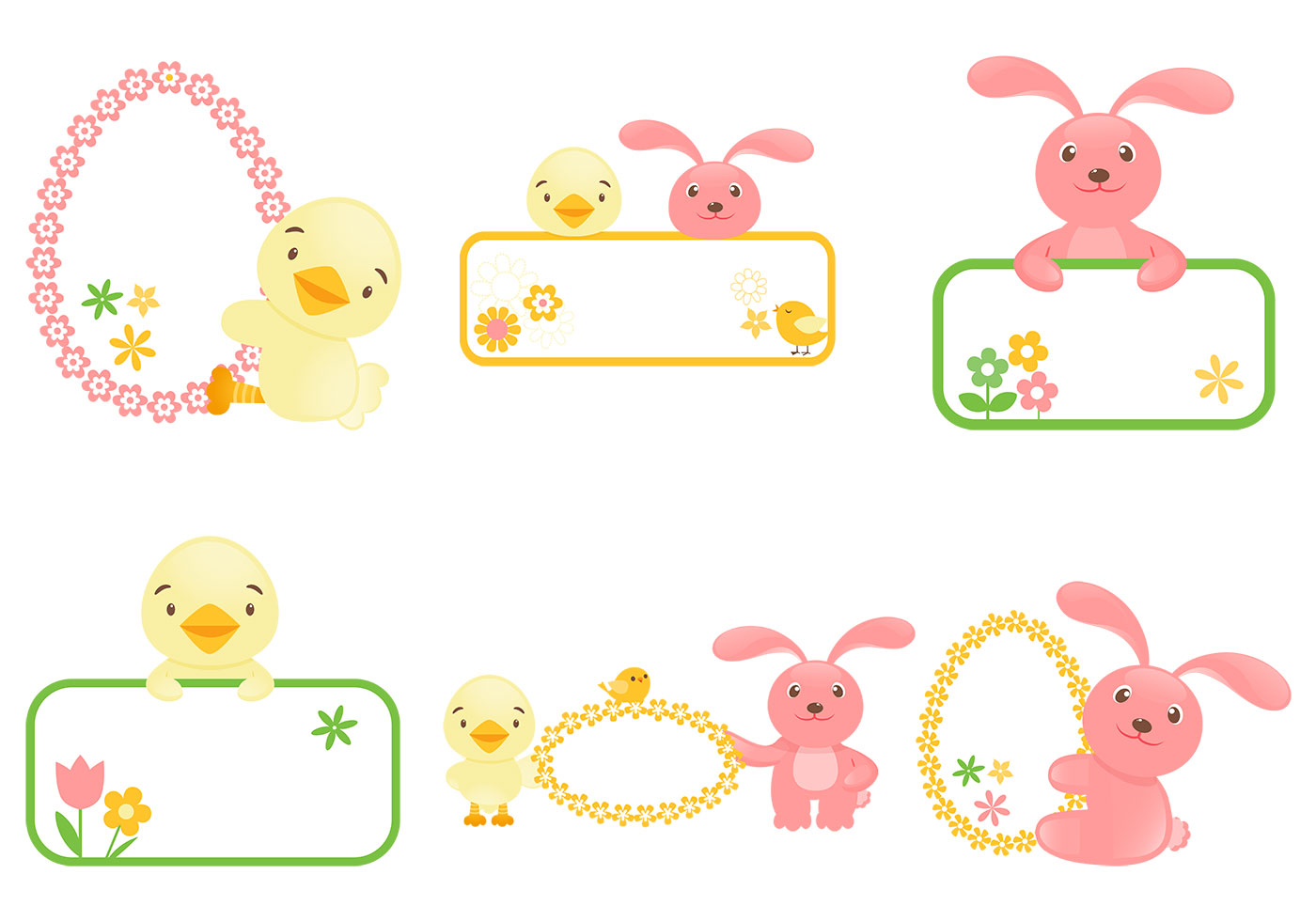 Easter Bunny And Chick Label Vector Pack Download Free