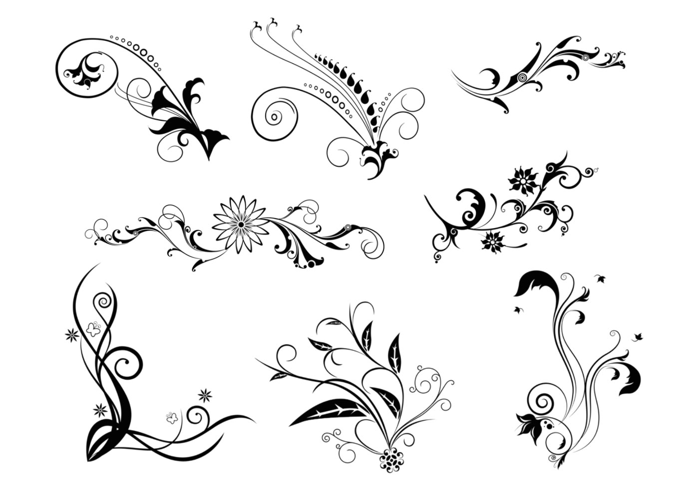 8 floral swirls vector pack download free vector art stock graphics images. Black Bedroom Furniture Sets. Home Design Ideas
