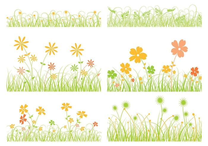 Gräs Vector och Flower Vector Pack