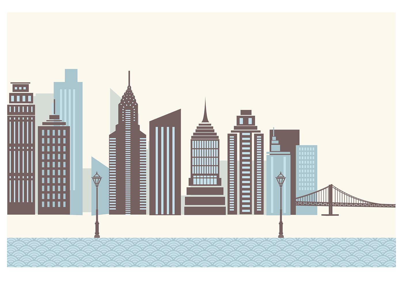 Skyscraper City Wallpaper Vector - Download Free Vectors ...