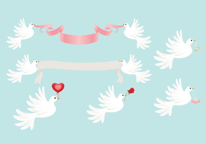 Bruiloft Dove Vector Pack