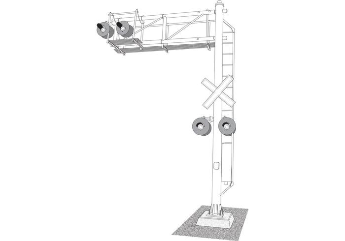 Vector Cantilever Rail Lights and Signals Illustration