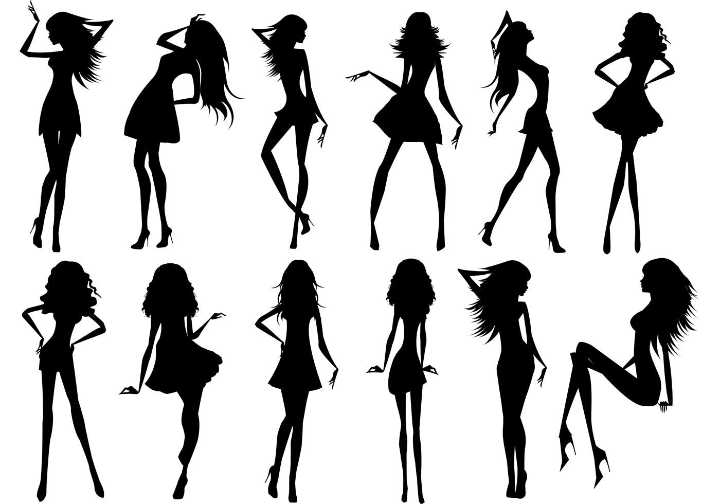Silhouette Of Beautiful Girls Download Free Vector Art Stock
