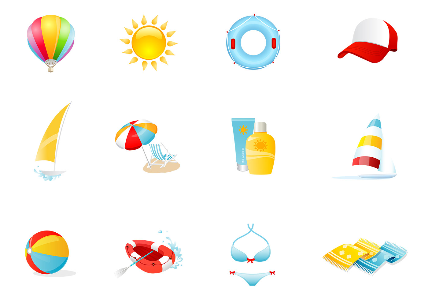 Beach Icons Vector Pack - Download Free Vectors, Clipart ...
