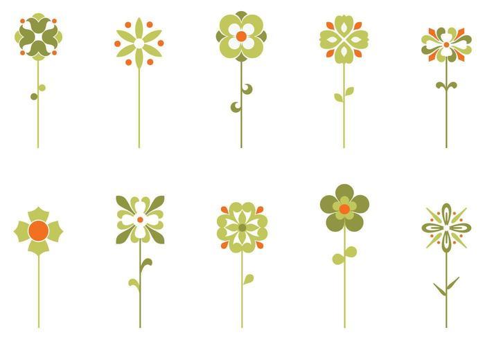 Ten Retro Flower Vectors Pack