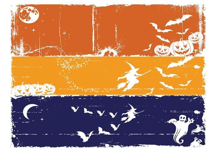 Grungy Halloween Banner Vectors