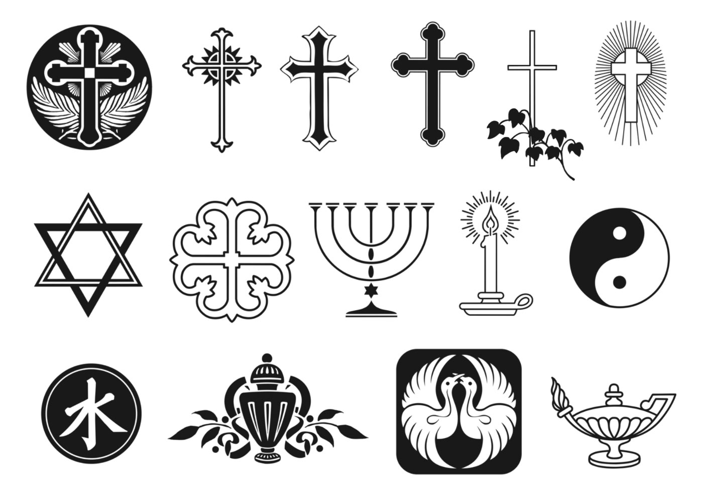 religious symbol vector pack download free vector art