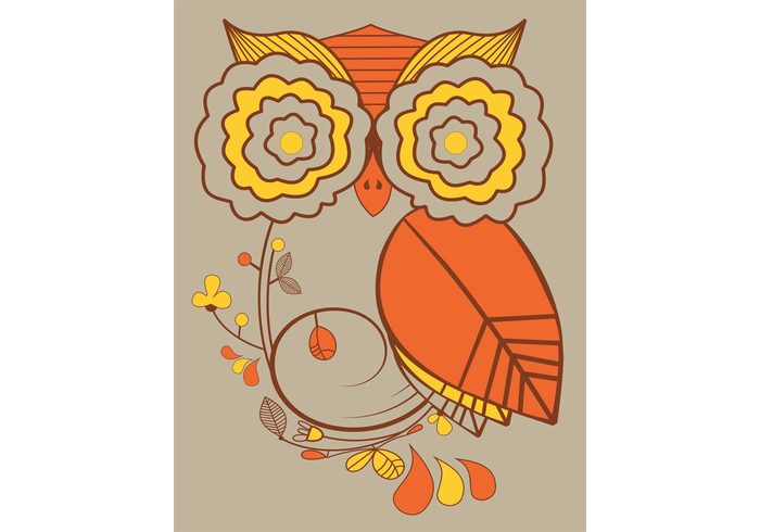 Flowered Owl Vector