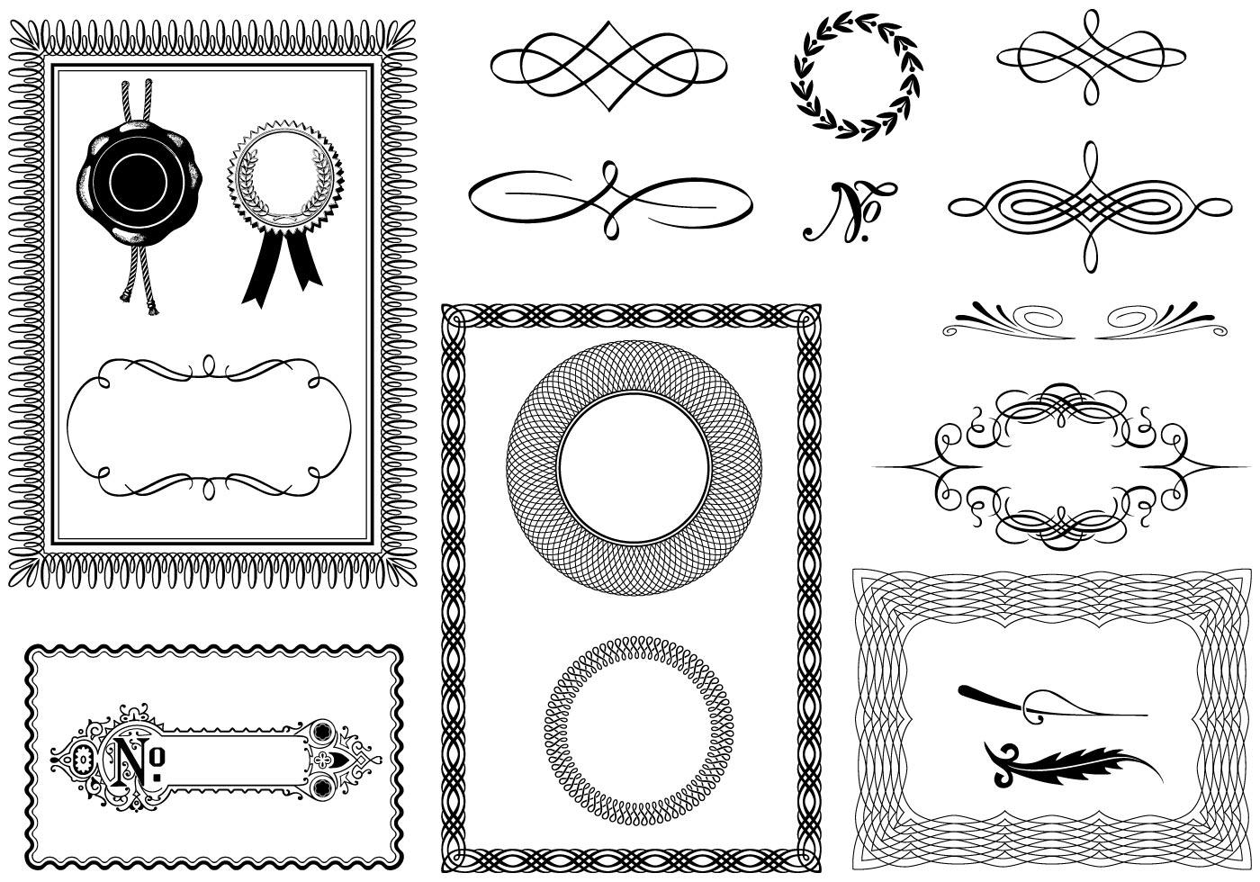 Certificate Vector Elements Pack - Kostenlose Vektor-Kunst, Archiv ...