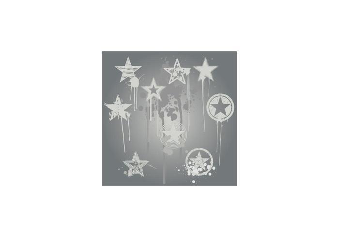Grunge Star Vector Design Elements