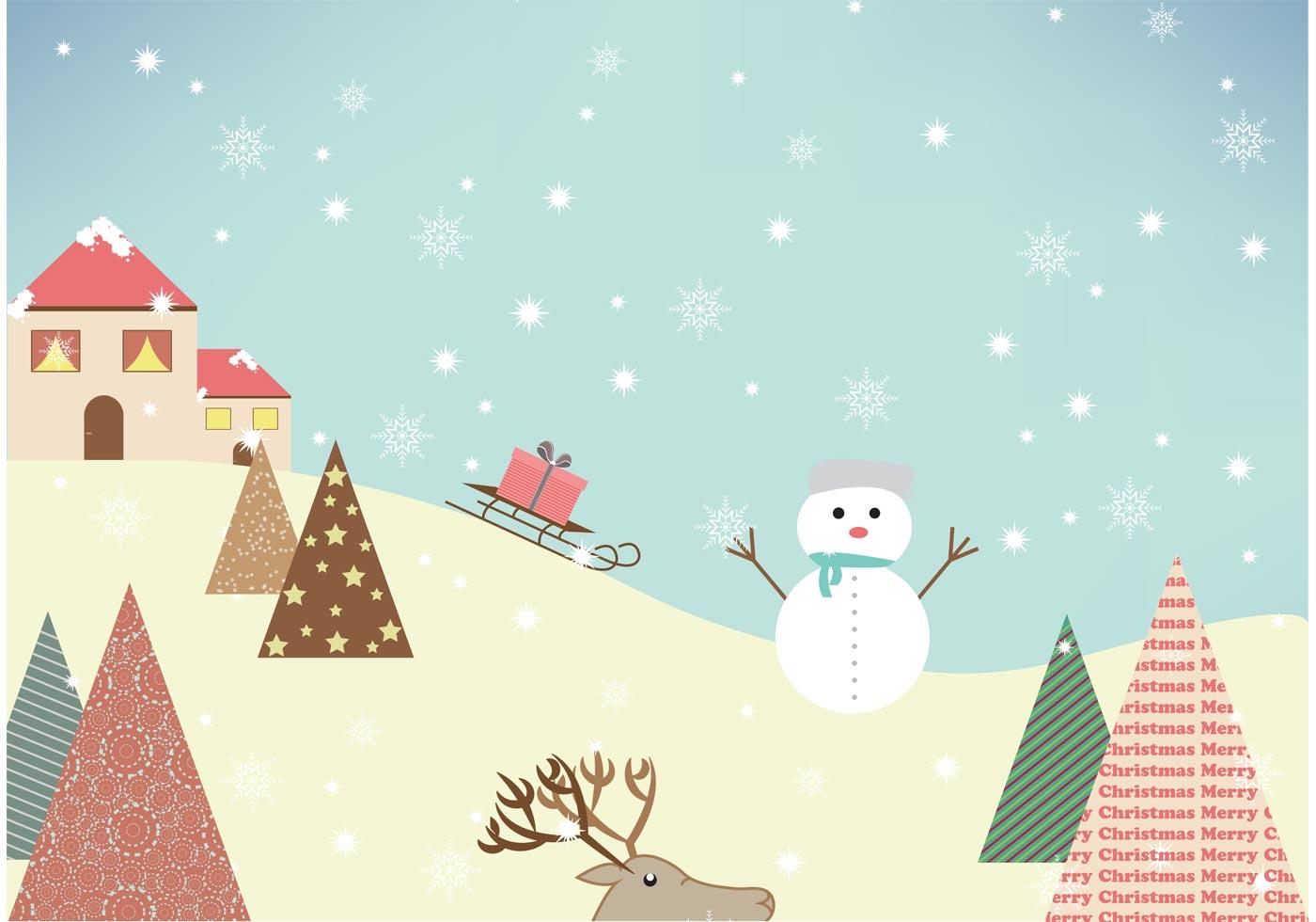 Winter vector on mountain - Download Free Vector Art ...