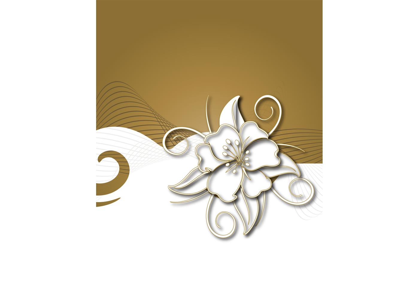 Floral Vector with Flowing Background | Free Vector Art at ...
