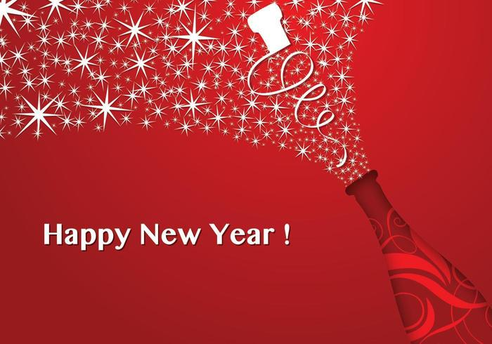 Red Champagne New Year Vector Wallpaper