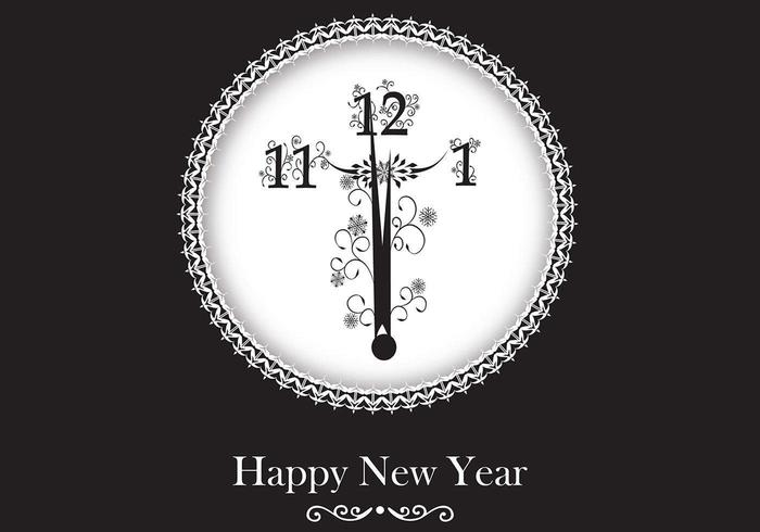 New Year Clock Vector Wallpaper