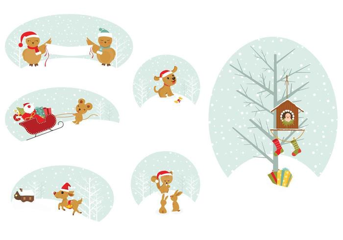 Christmas Animal Tags Vector Pack
