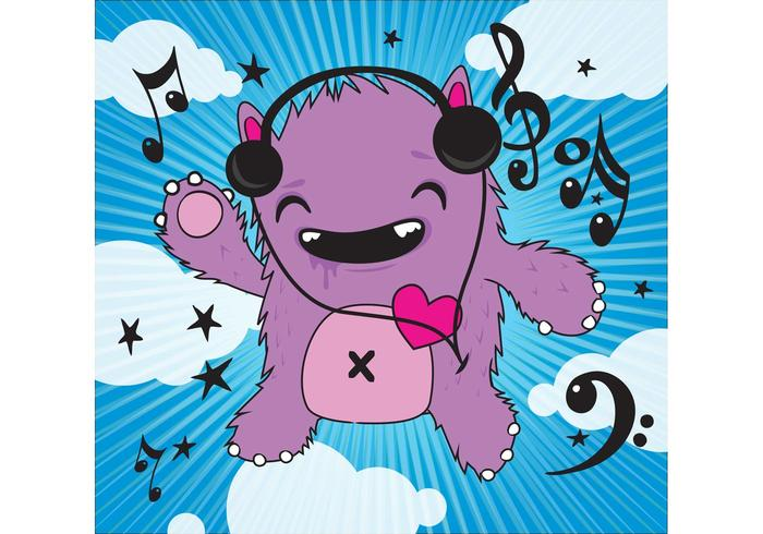 Music Monster Vector