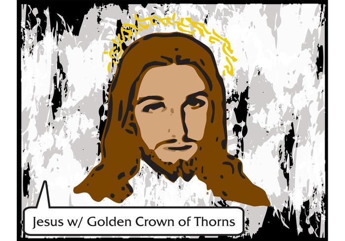Jesus Vector med Golden Crown of Thorns - Gratis Vector