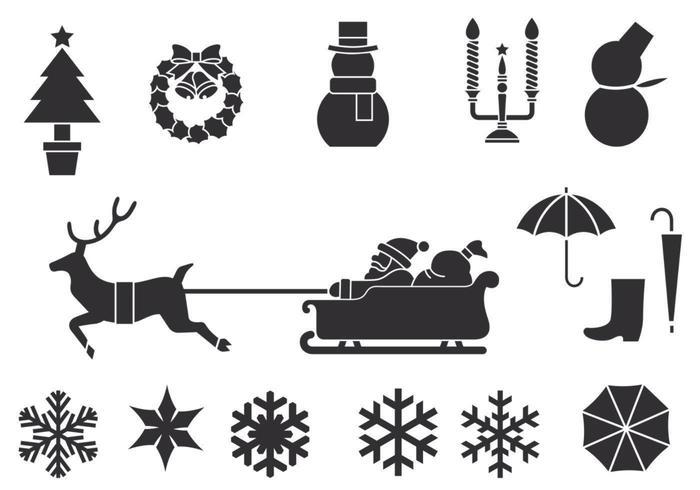 Pacote de escova de inverno e natal