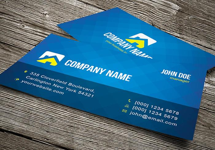 Blue Business Card Template Vector - It business cards templates