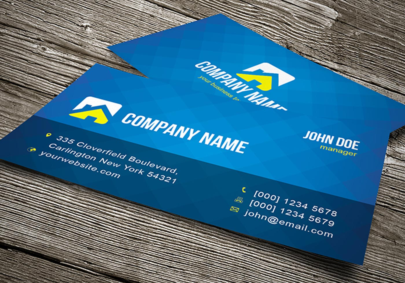 Cool blue business card template vector flashek Gallery