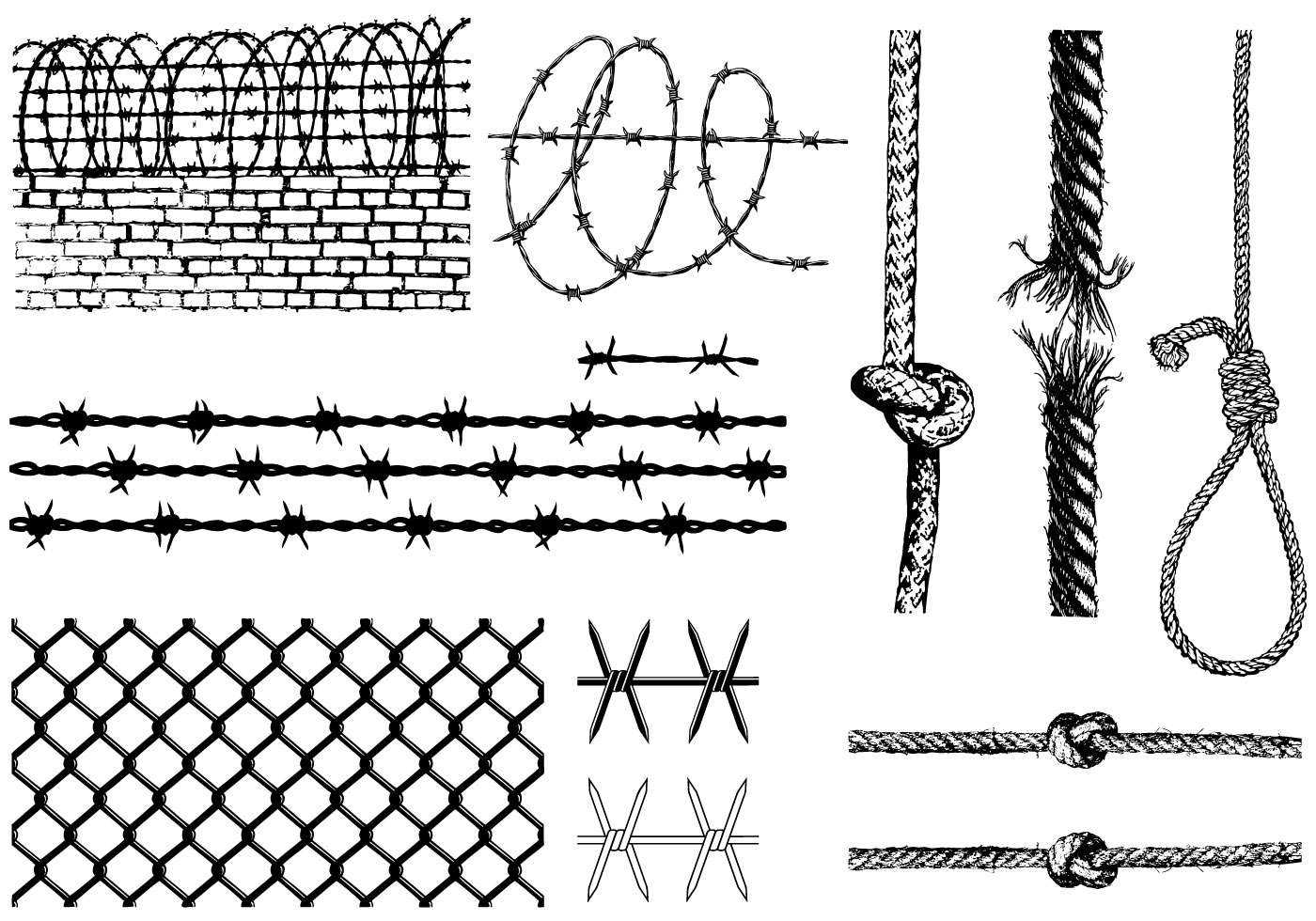 Barbed Wire And Ropes Vector Pack Download Free Vectors