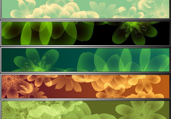 8 Colorful Flower Vector Banner Pack