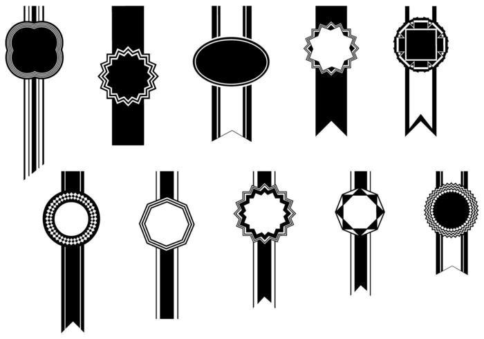 Pacote de vetores de emblemas e fitas