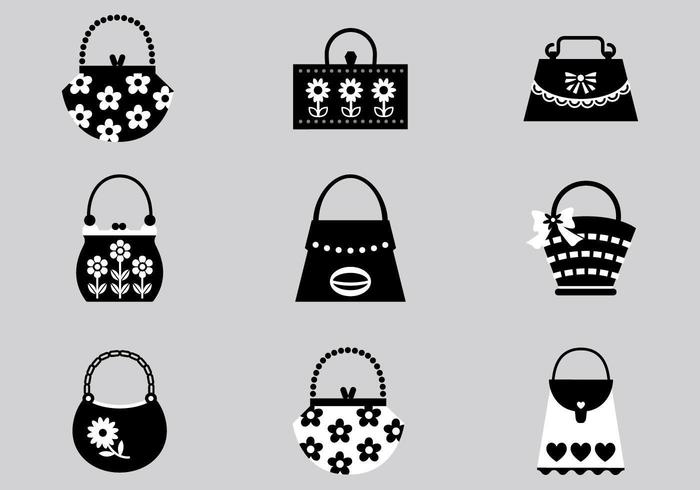 Black and Pink Handbag Vector Pack