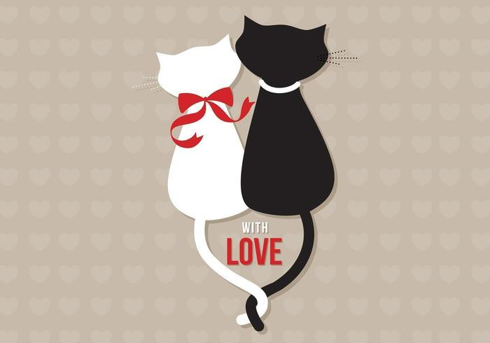 Cats in Love Vector Wallpaper
