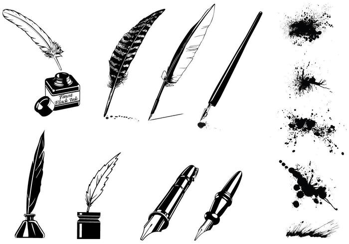 Vintage Ink Pen Vector und Splatter Vector Pack