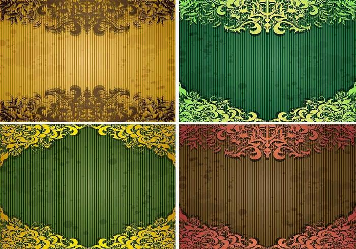 Emerald Vintage Background Vector Pack