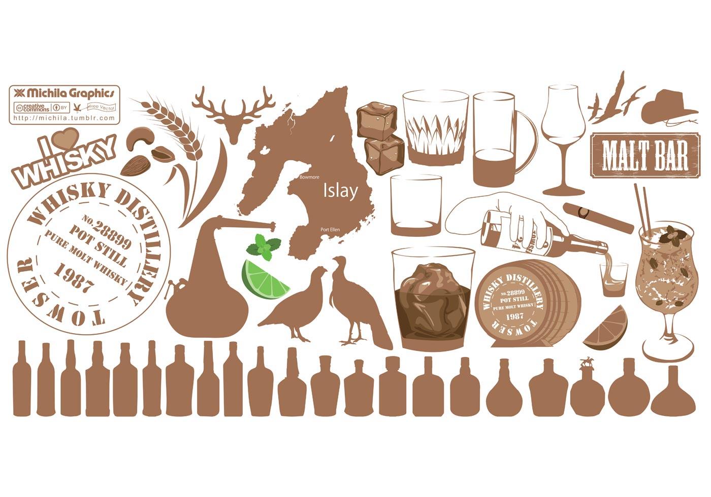 variety set of whiskey vectors free vector art at vecteezy