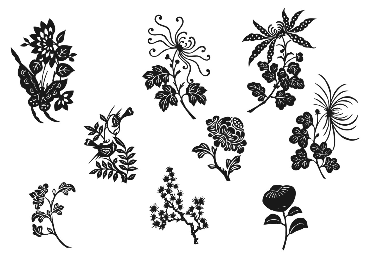 Black And White Flower Vector Pack Download Free Vector Art Stock