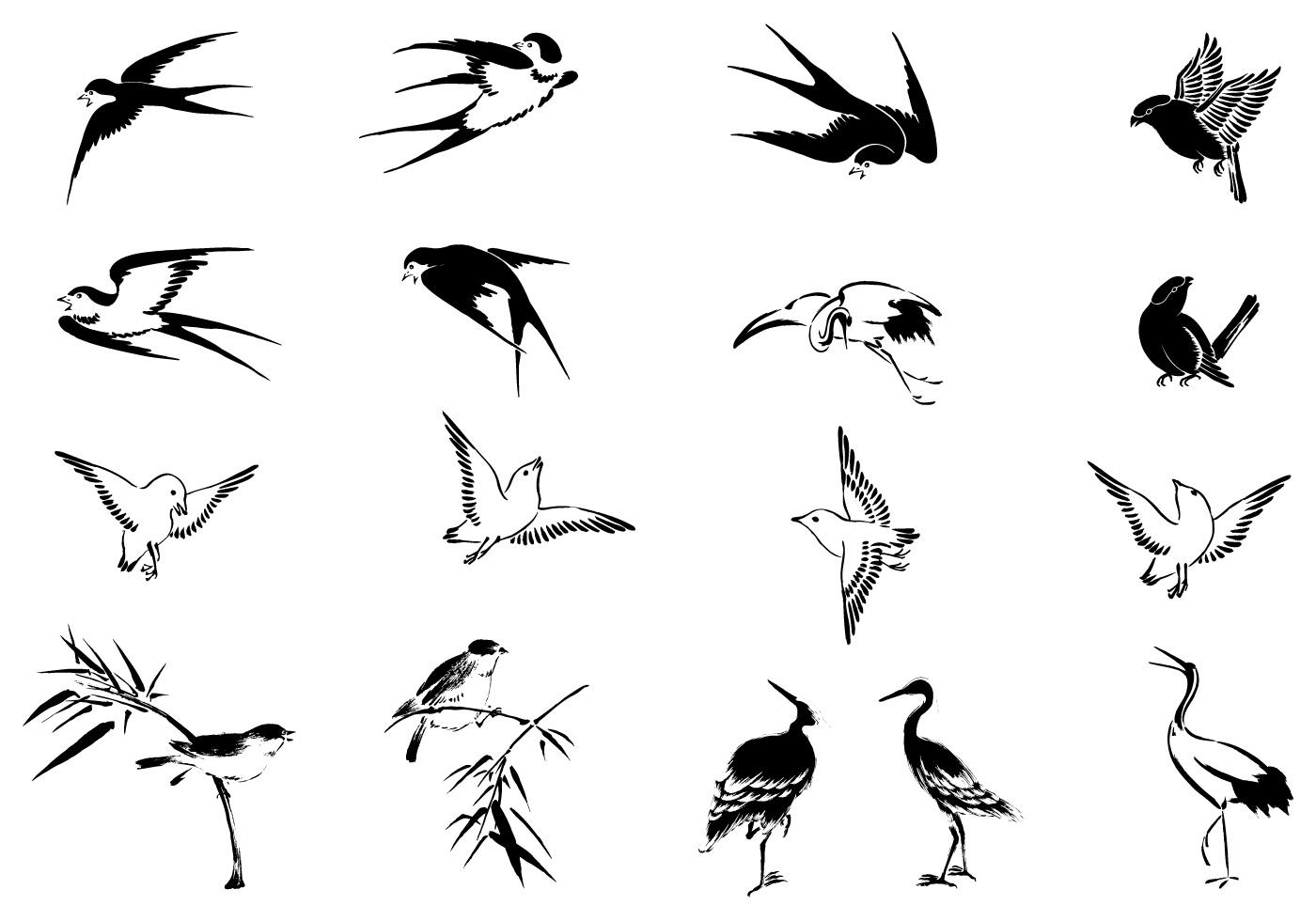 Flying Bird Vector Pack - Download Free Vectors, Clipart ... - photo#7