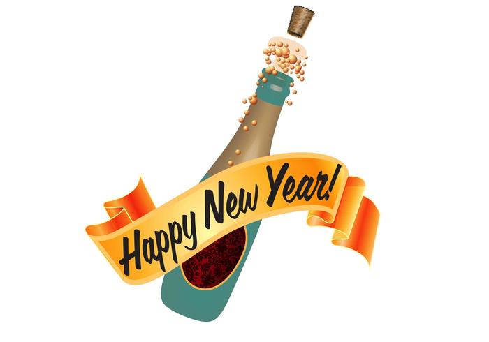 New Year Bottle Vector
