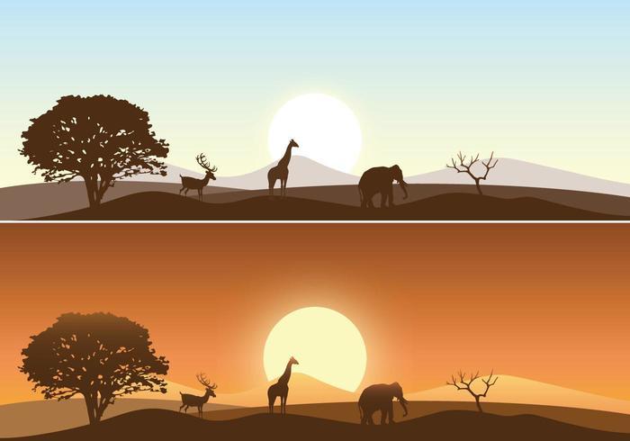 África Sunrise Paisaje Vector Pack