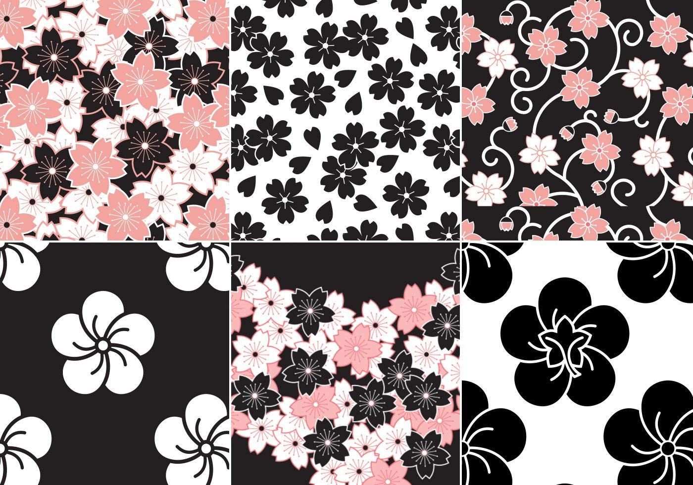 sakura flower vector pattern pack download free vector