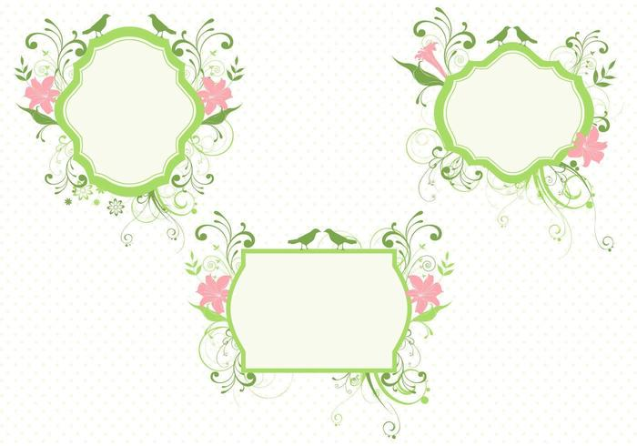 Birds and Flowers Banner Vector Pack