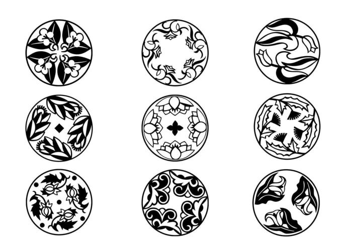 Circulaire Bloeiende Ornamentvectoren